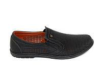 Мужские летние чёрные туфли  с перфорацией