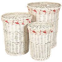 Набор плетеных корзин для белья и игрушек (3 шт.)