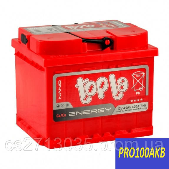 Автомобильный аккумулятор Topla energy 45 Ач 420 А (0) R+ h=175мм