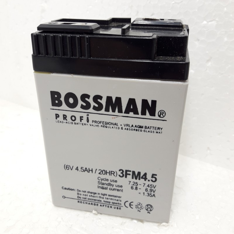 Аккумулятор Bossman 6V 4.5Ah без клем 3FM4.5 70х48х107мм