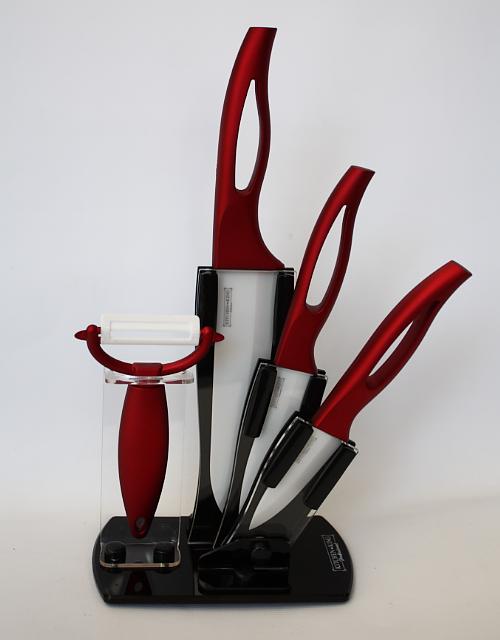 Набор керамических ножей с веерной подставкой 5 предметов