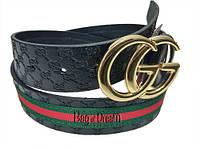 Ремень джинсовый Gucci GC11GD-35.00 (черный/тиснение логотипа/декор)