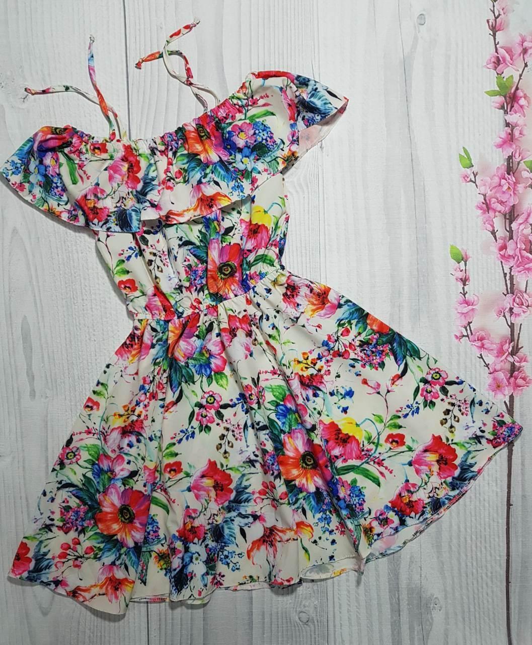 Детский красочный  сарафан для девочки Цветочки р. 128-146