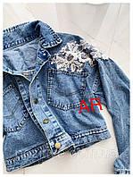 Джинсовая куртка с гипюром 42 - 46, фото 1
