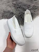 Слипоны-носочки текстиль белые