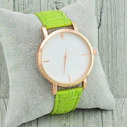 Часы G-106 диаметр циферблата 3.8 см, длина ремешка 17-21 см, салатовый цвет, позолота РО