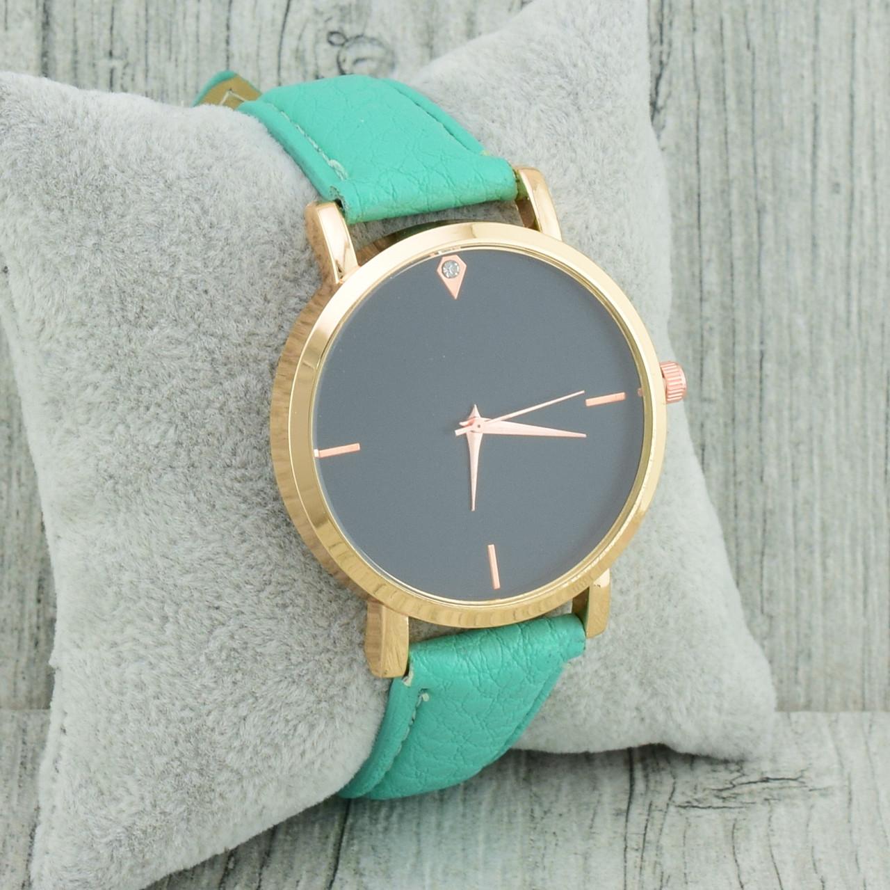 Часы G-107 диаметр циферблата 3.7 см, длина ремешка 18-21 см, бирюзовый цвет, позолота РО