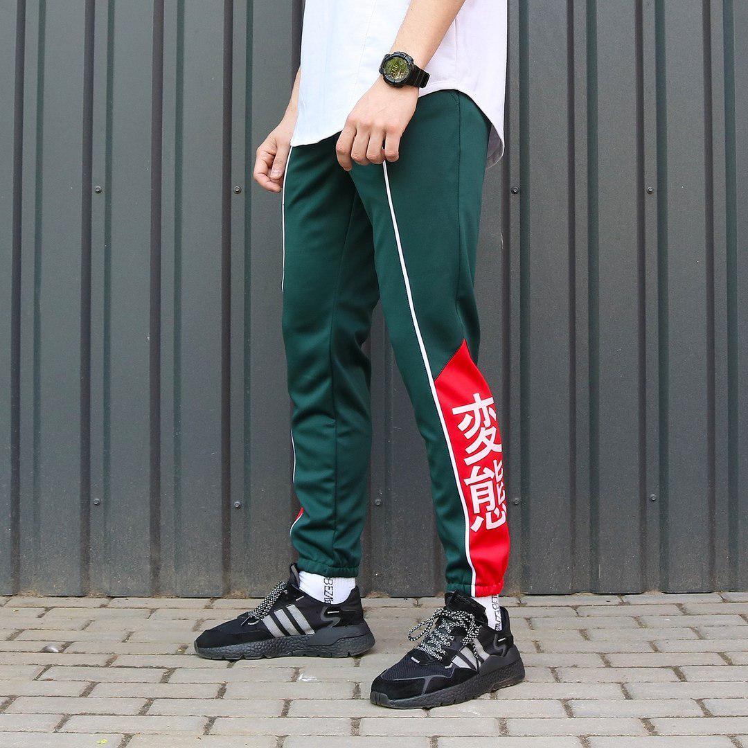 Спортивные штаны с иероглифами ТУР Creed зеленые