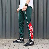 Спортивные штаны с иероглифами ТУР Creed зеленые, фото 1