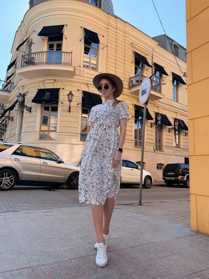 Платье с принтом, ткань: софт(хлопок с вискозой) .  Размер:  С(42-44)М(44-46). Цвет: белый (6385)
