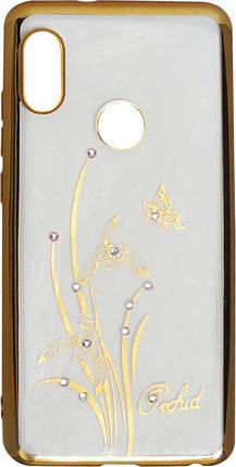 Силикон Xiaomi Redmi Note5/5Pro gold bamper Orchid swarowski, фото 2