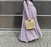 Модное хлопковое платье макси для беременных и кормящих мам размер Л