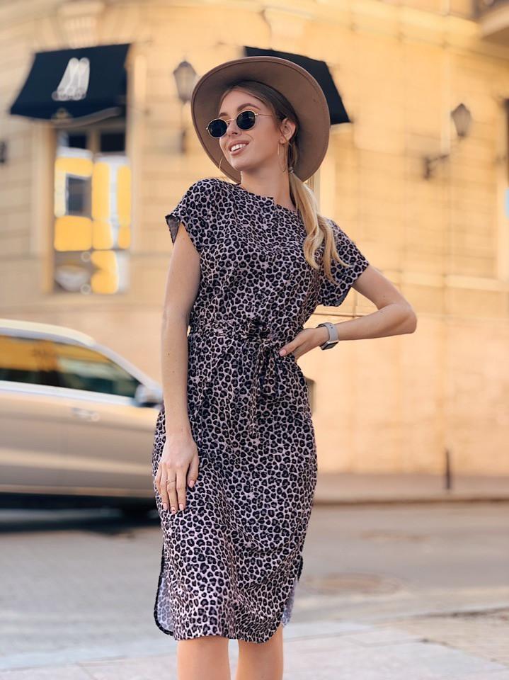 Платье, принт, ткань: софт(хлопок с вискозой) .  Размер:  С(42-44)М(44-46). Цвет: серый (6386)