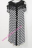 Нарядное черно-белое платье батал с кружевной кокеткой Darkwin, фото 1