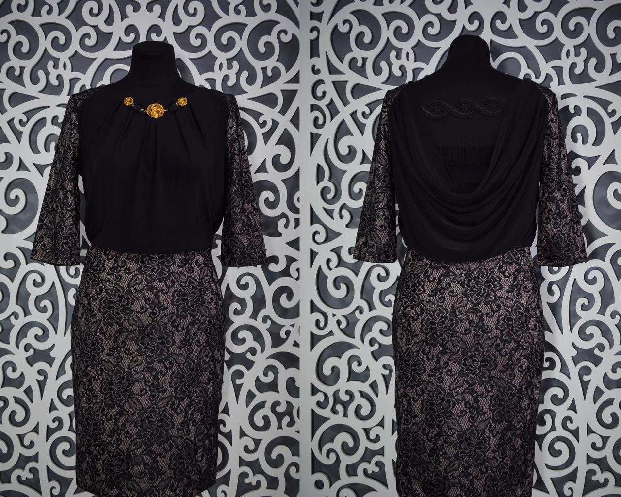 Шикарное женское платье набивное кружево на плотном стрейч коттоне 42 размер норма