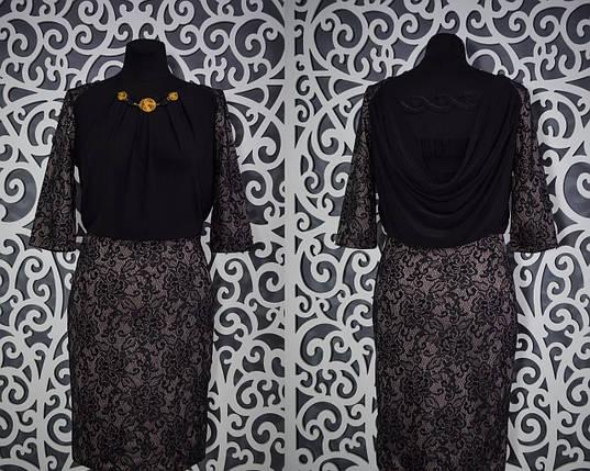 Шикарное женское платье набивное кружево на плотном стрейч коттоне 42 размер норма, фото 2