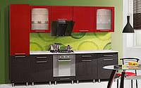 Кухня Адель комплект 2м черный + красный   Світ Меблів