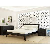 Кровать деревянная YASON Las Vegas Серый Вставка в изголовье Titan Black (Массив Ольхи либо Ясеня), фото 1