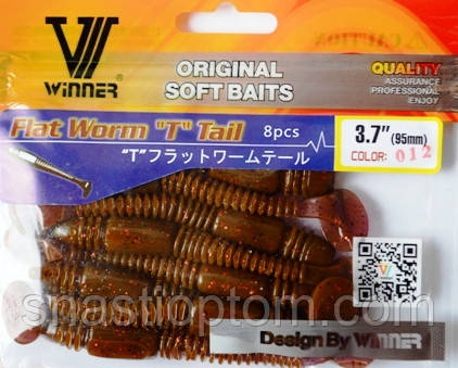 Силиконовая приманка съедобная Червь Плоский (Flat Worm), TBR-017, цвет 012, 8шт.