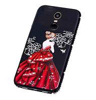 Силиконовый чехол со стразами Девушка в платье для Xiaomi Redmi Note 4X