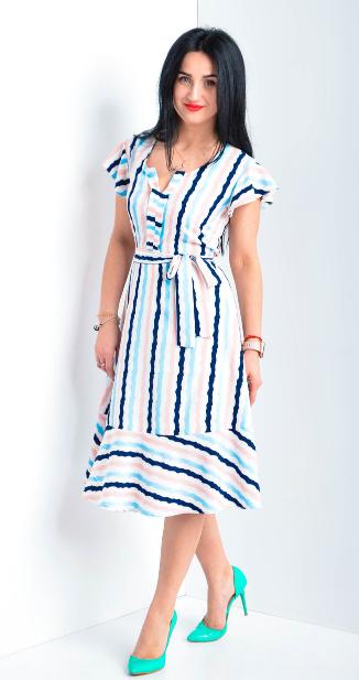 Легкое платье в полоску размеры 44,46,48,50