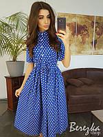 91970d1af7a Льняное платье в горошек с пышной юбкой и коротким рукавом 66032775