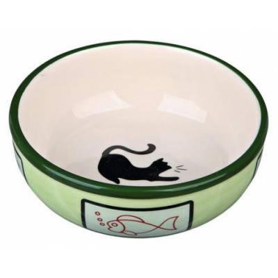 Миска керамическая для кошек Trixie с кошкой и рыбкой 0,35 л/12,5 см, фото 2