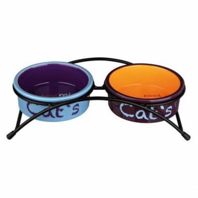 Trixie Eat on Feet Подставка с яркими керамическими мисками для кошек 0,3 л/12 см, фото 2