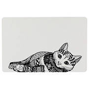 Килимок під миски для кішок Trixie (Тріксі) Zentangle 44х28 см чорно-білий