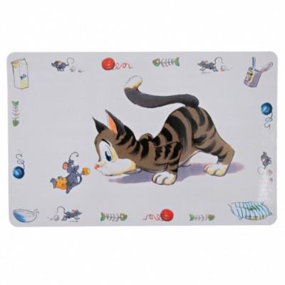 Коврик под кошачью миску Trixie Comic Cat 44х28 см