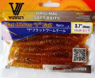Силиконовая съедобная приманка Flat Worm (ЧервьПлоский), TBR-017, цвет 009, 8шт.