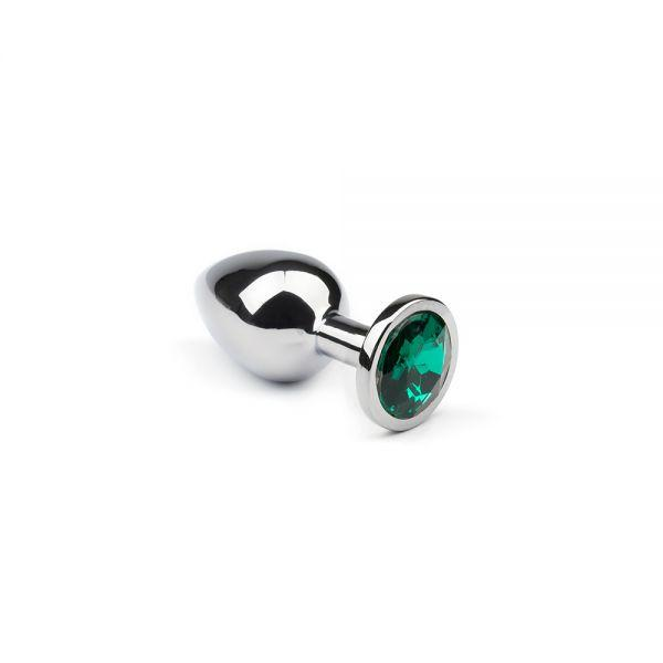 Анальная пробка серебряная Silver Emerald