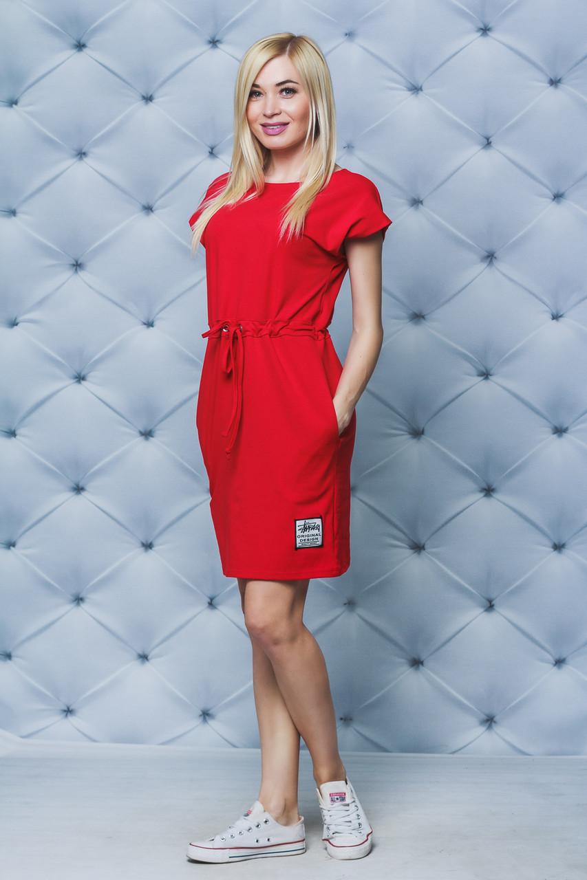Платье летнее на кулиске красное