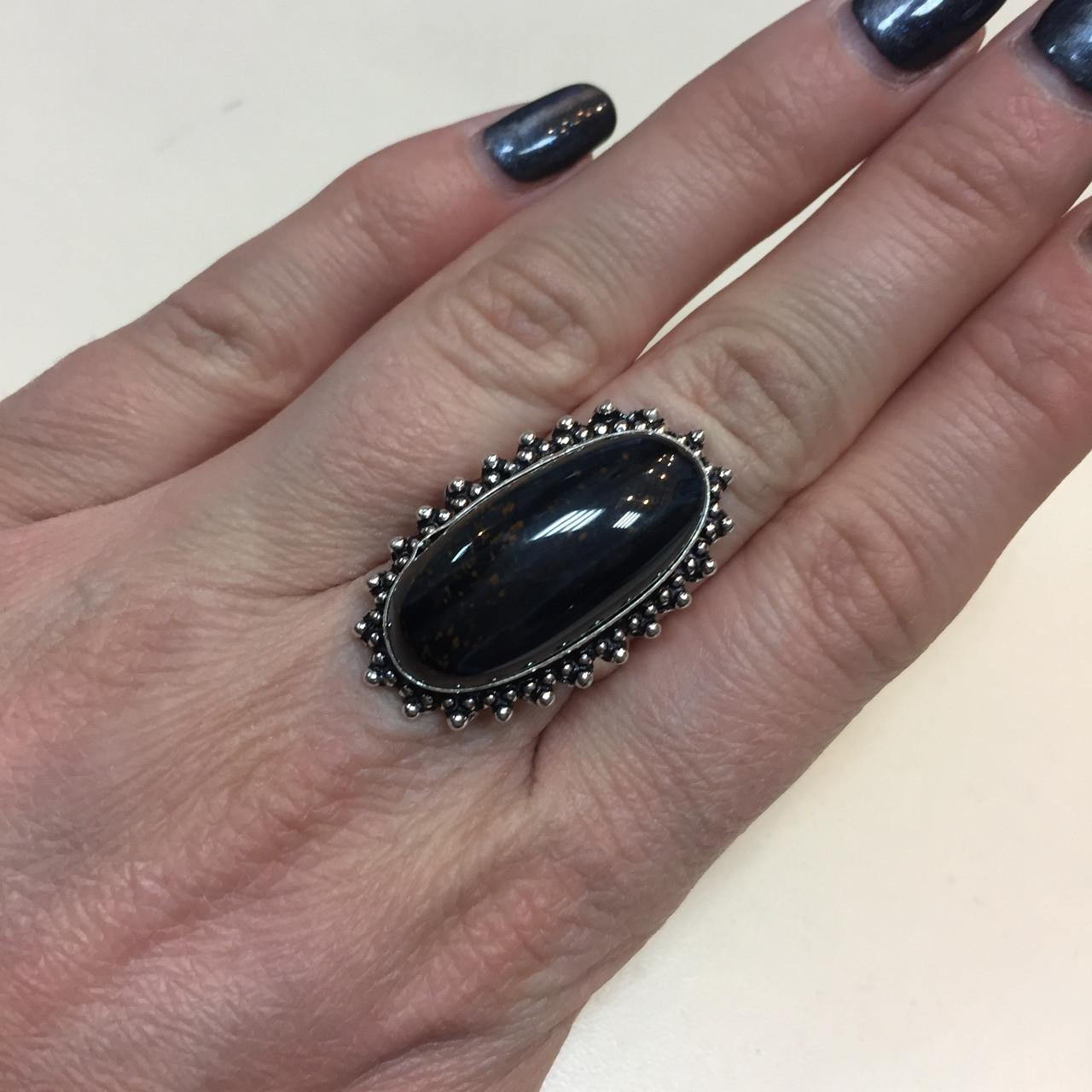 Соколиный глаз питерсит овальное кольцо с соколиным глазом питерситом 16.5-17 размер Индия