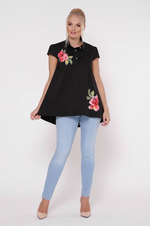 / Размер 50,52,54,56,58 / Женская легкая летняя блузка А-силуэта Розмари / цвет черный