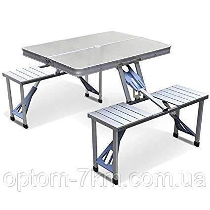 Стол складной алюминиевый со стульями 4 места Aluminum Picnic Table Jw