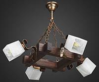 Люстра деревянная подвесная на цепях с квадратными плафонами AR-002848