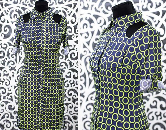"""Оригинальное женское платье с разрезиками """"Хлопок+стрейч"""" 42 размер норма, фото 2"""