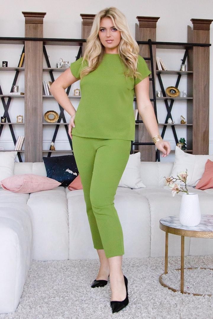 Женский брючный костюм топ и укороченные брюки с завышенной талией 48-50, 52-54