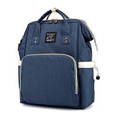 ✓Сумка Maikunitu Mummy Bag Blue удобный рюкзак для мам на прогулку мультифункциональный органайзер с USB