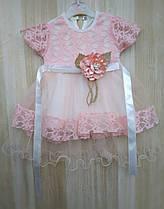 Нарядное платье для девочки на выписку или крещение (0-3, 6-9 мес.) Турция