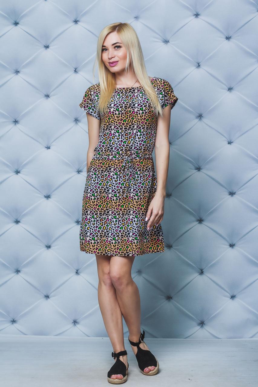 Платье женское короткое леопард