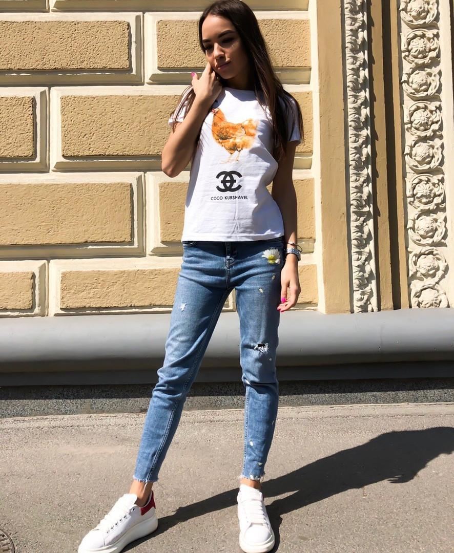 Женская летняя стильная футболка с рисунком Коко
