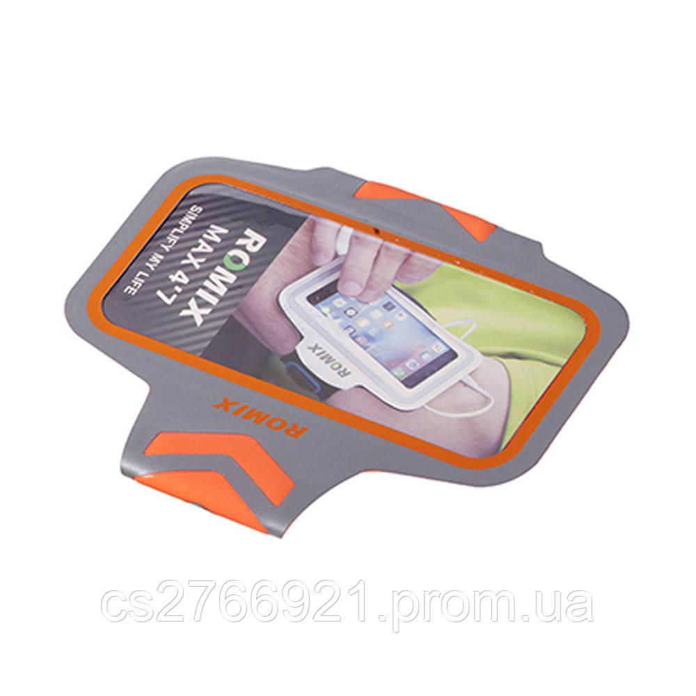 Ультратонкий отражающий наручный чехол с сенсорным экраном  ROMIX RH17-5.5OR оранжевый