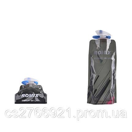 Складная спортивная бутылка для питья 0,7 л с карабином ROMIX RH45B черный, фото 2