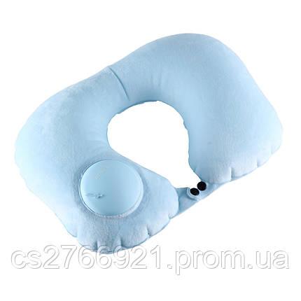 Дорожная надувная подушка для шеи со встроенной помпой   ROMIX RH50WBL голубой, фото 2