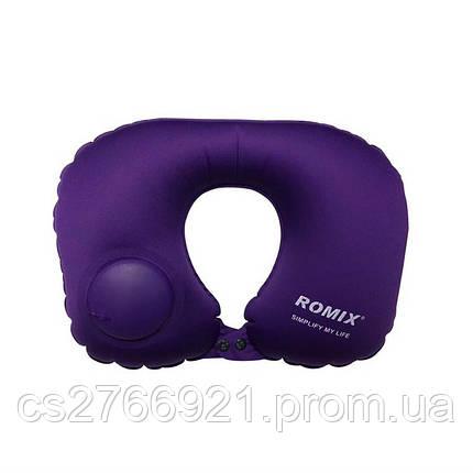 Дорожная надувная подушка для шеи со встроенной помпой   ROMIX RH34PR фиолетовый, фото 2