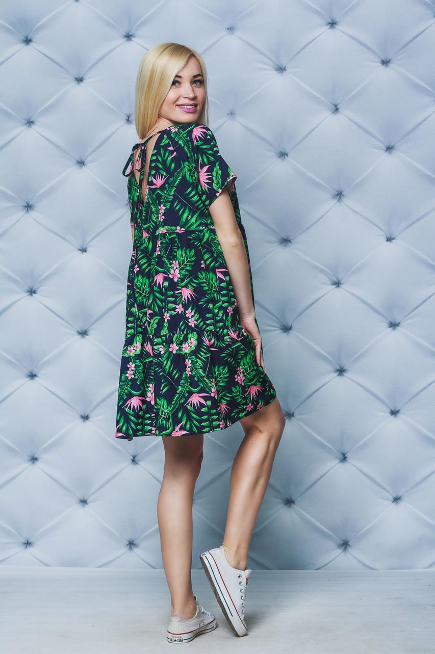 Летнее стильное платье темно-синее