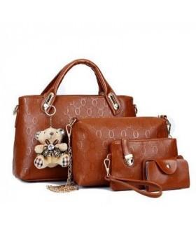 Набор женских сумок 4 предмета коричневого цвета Без брелка! DA-5