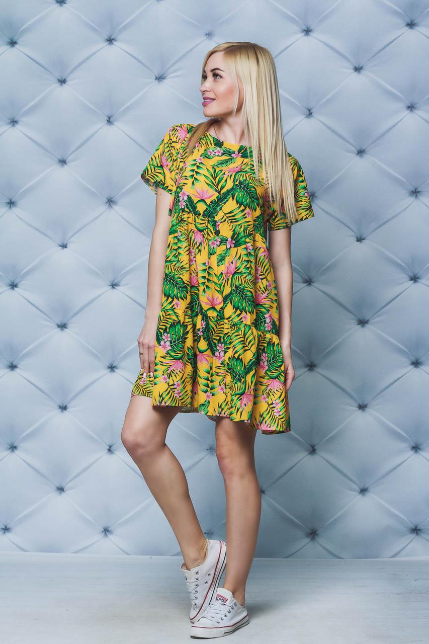 Летнее стильное платье горчица